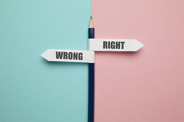 Pencil - direction indicator - choice of right or wrong.